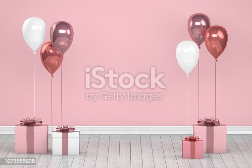 istock Shiny pink and white color balloons in empty room. Christmas, Valentine's day, Birthday concept. 1073585628