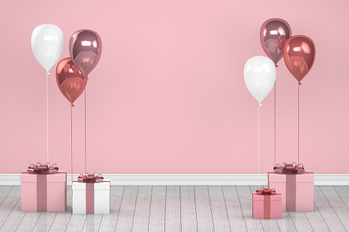Shiny pink and white color balloons in empty room. Christmas, Valentine's day, Birthday concept.