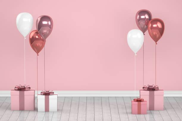 Glänzende rosa und weiße Farbe Ballons im leeren Raum. Weihnachten, Valentinstag, Geburtstag-Konzept. – Foto