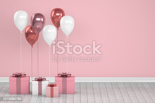 1073585628 istock photo Shiny pink and white color balloons in empty room. Christmas, Valentine's day, Birthday concept. 1073585760