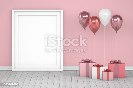 istock Shiny pink and white color balloons with empty frame in empty room. Christmas, Valentine's day, Birthday concept. 1073769496
