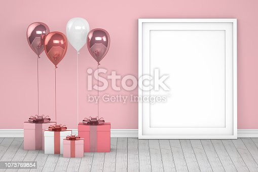 istock Shiny pink and white color balloons with empty frame in empty room. Christmas, Valentine's day, Birthday concept. 1073769854