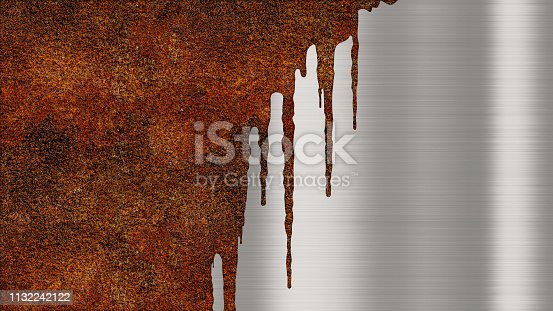924754302istockphoto Shiny polished metal background texture with rusty drips of liquid. Brushed metallic steel plate with traces of orange rust streaks. Sheet metal shiny silver 1132242122
