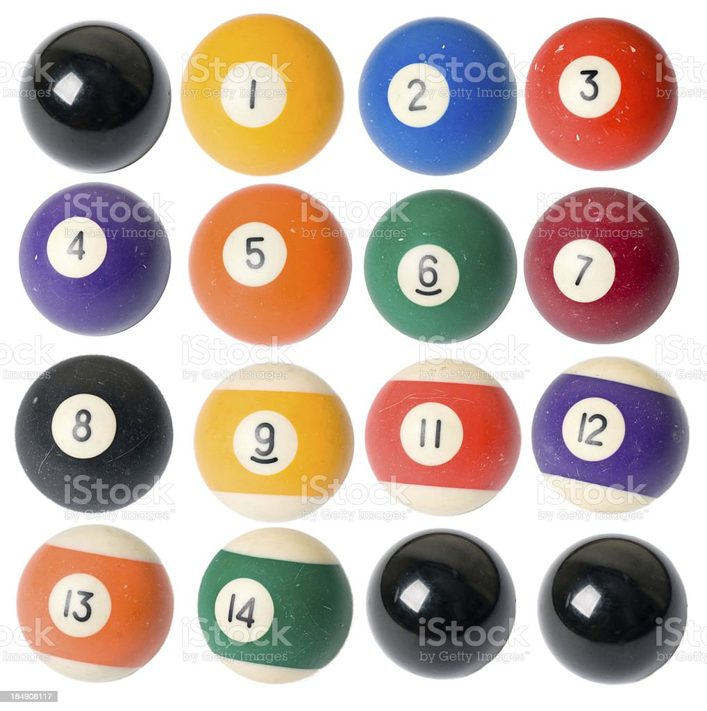 Piscina de pelotas de billar brillante colección sobre fondo blanco - foto de stock