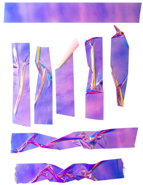 Shiny purple crumpled stickers. Cool set of metallic holographic sticky tape shapes isolated on white background. Purple holo glitter stripes or snips. Sticky adhesive remain. tape stock pictures, royalty-free photos & images