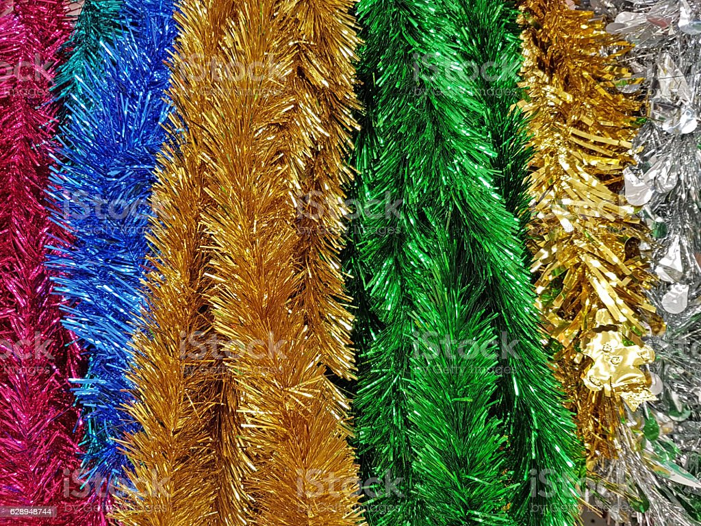Shiny Rainbow Colored Christmas Foil Tinsel Garland Stock Photo Download Image Now