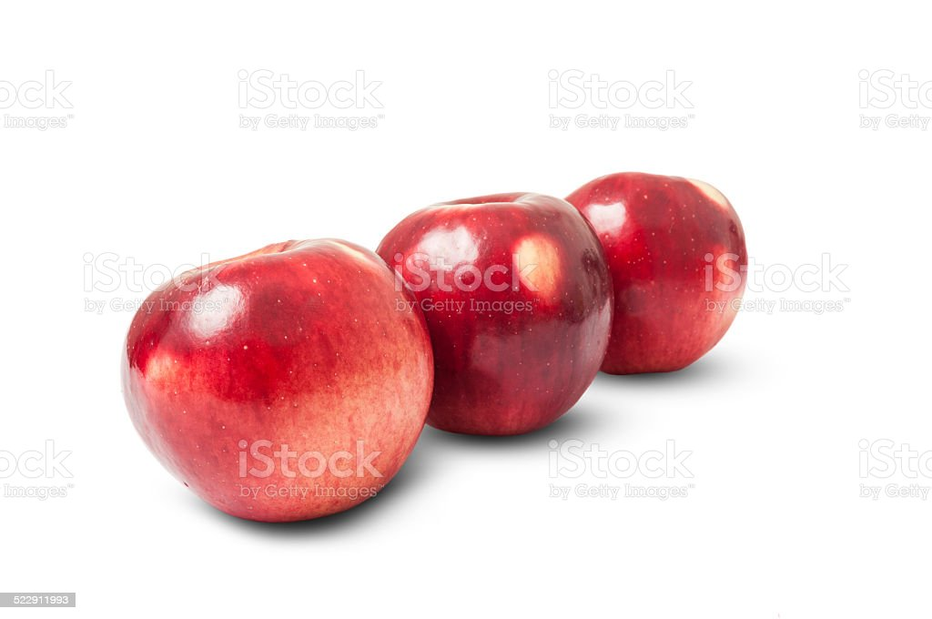Shiny red autumn apples stock photo