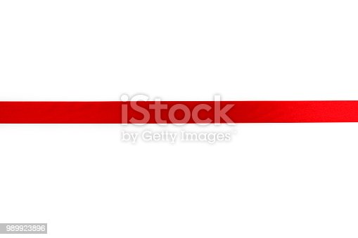 istock Shiny red ribbon with Clipping Path 989923896