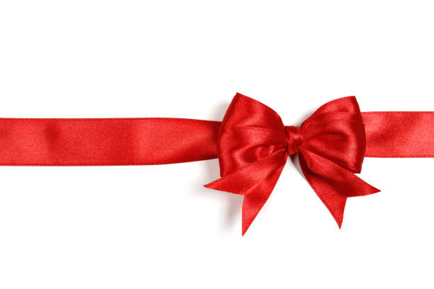 glänsande rött sidenband på vit bakgrund - christmas presents bildbanksfoton och bilder