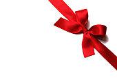 Shiny red satin ribbon