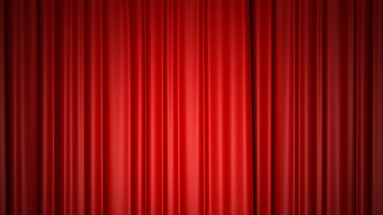 Shiny red silk curtains on stage. 3d rendering.