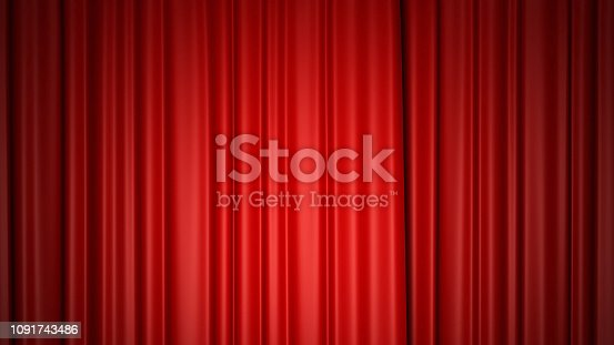 istock Shiny red silk curtains on stage. 3d rendering. 1091743486