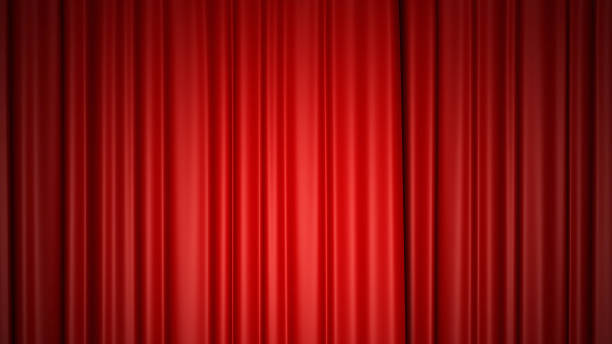 shiny red silk curtains on stage. 3d rendering. - curtain stock pictures, royalty-free photos & images