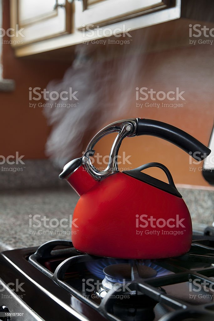Shiny Red Tea Pot royalty-free stock photo