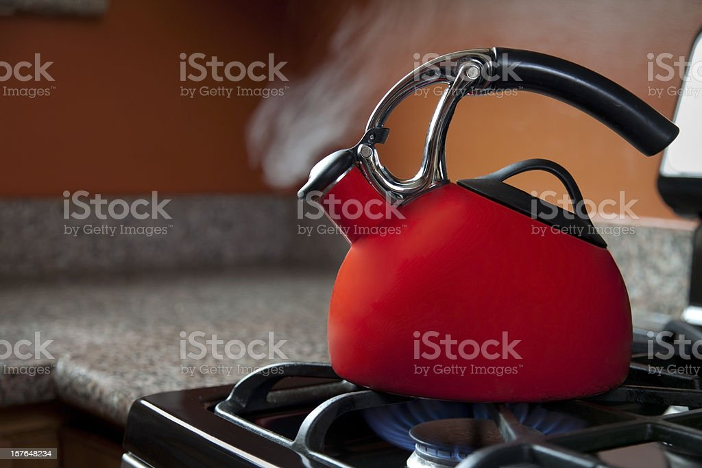 Shiny Red Tea Pot stock photo