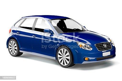 istock Shiny royal blue midsize car with black interior 169958602