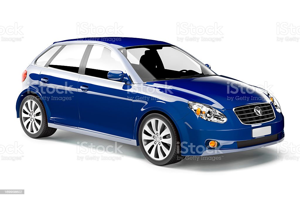 Shiny royal blue midsize car with black interior stock photo
