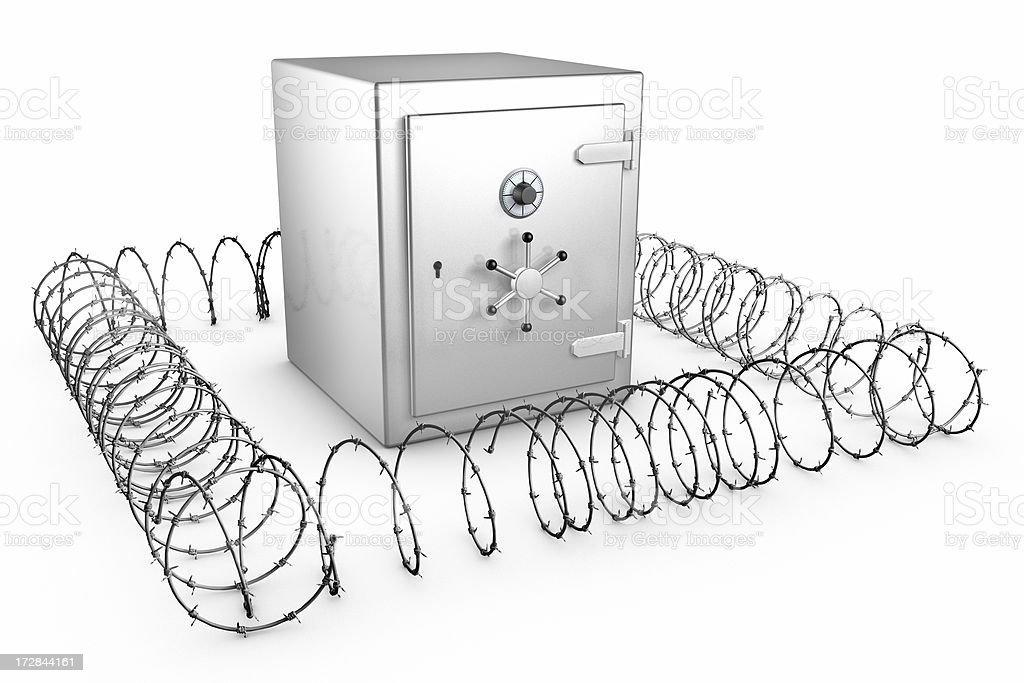 Shiny Safe with barb wire royalty-free stock photo