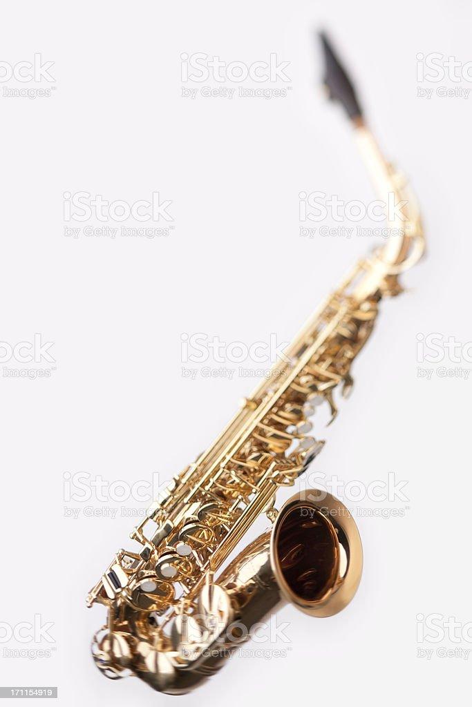 shiny saxophone | selective focus stock photo