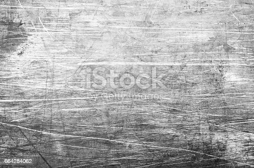 Shiny scratched dark metal surface close up