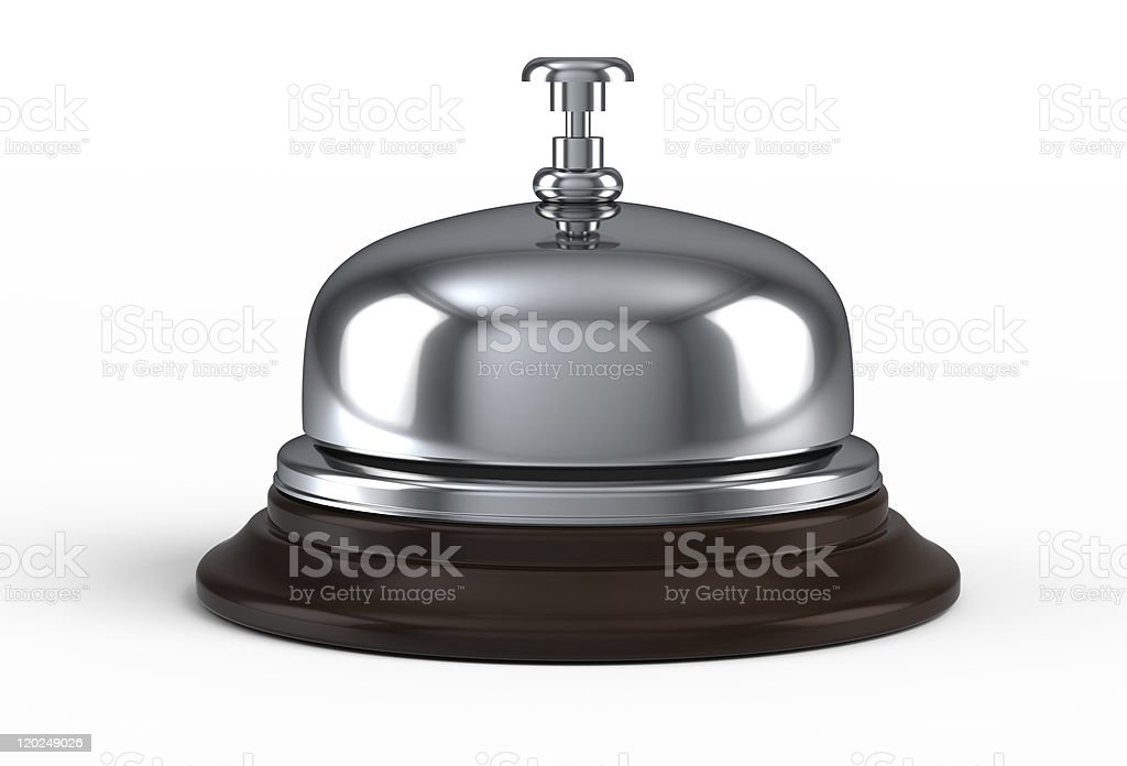A shiny service bell on a white background stock photo