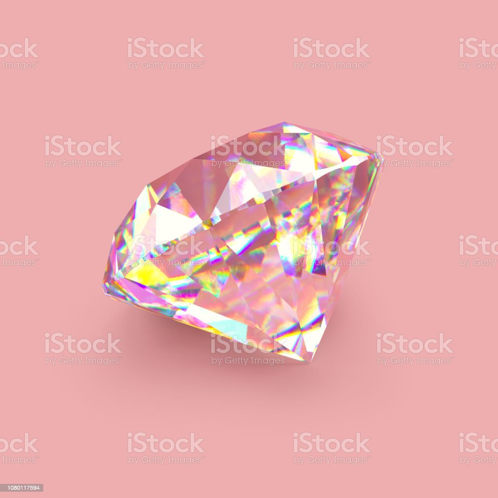 Shiny sparkling realistic diamond on rose gold background. Scratches...