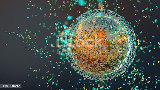 899255516 istock photo A shiny sphere emitting particles 1191310247