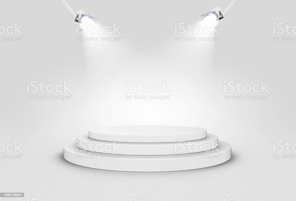 Shiny Stage Illuminated By Spotlights. stock photo