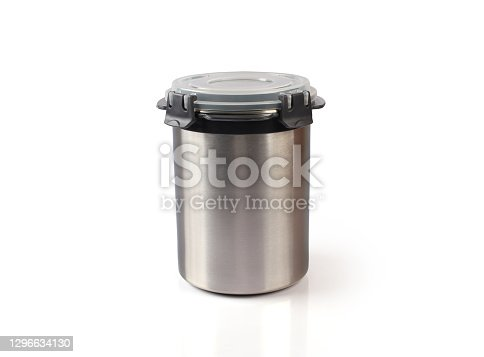 shiny stainless steel stroage container for preserve foods and cereal with plastic lid
