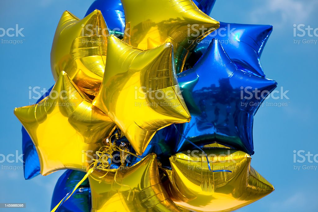 Glänzende Sterne-Balloons - Lizenzfrei Blau Stock-Foto
