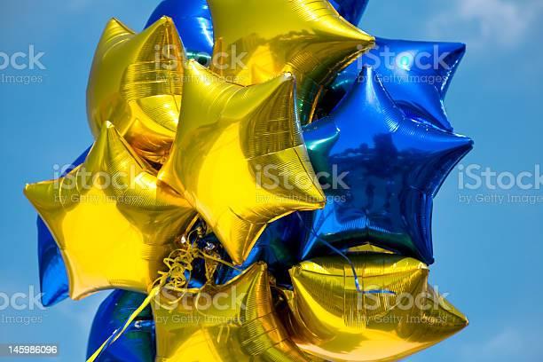 Glänzende Sterneballoons Stockfoto und mehr Bilder von Luftballon