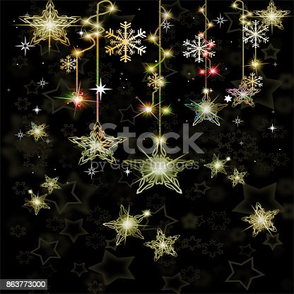 istock Shiny stars shapes on a black background 863773000