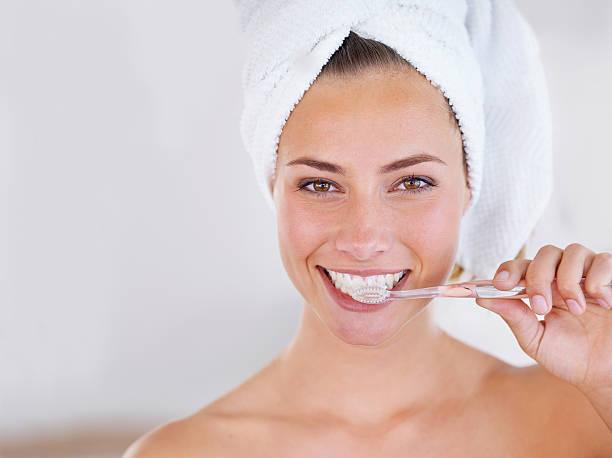 Shiny teeth and minty breath, win! stock photo