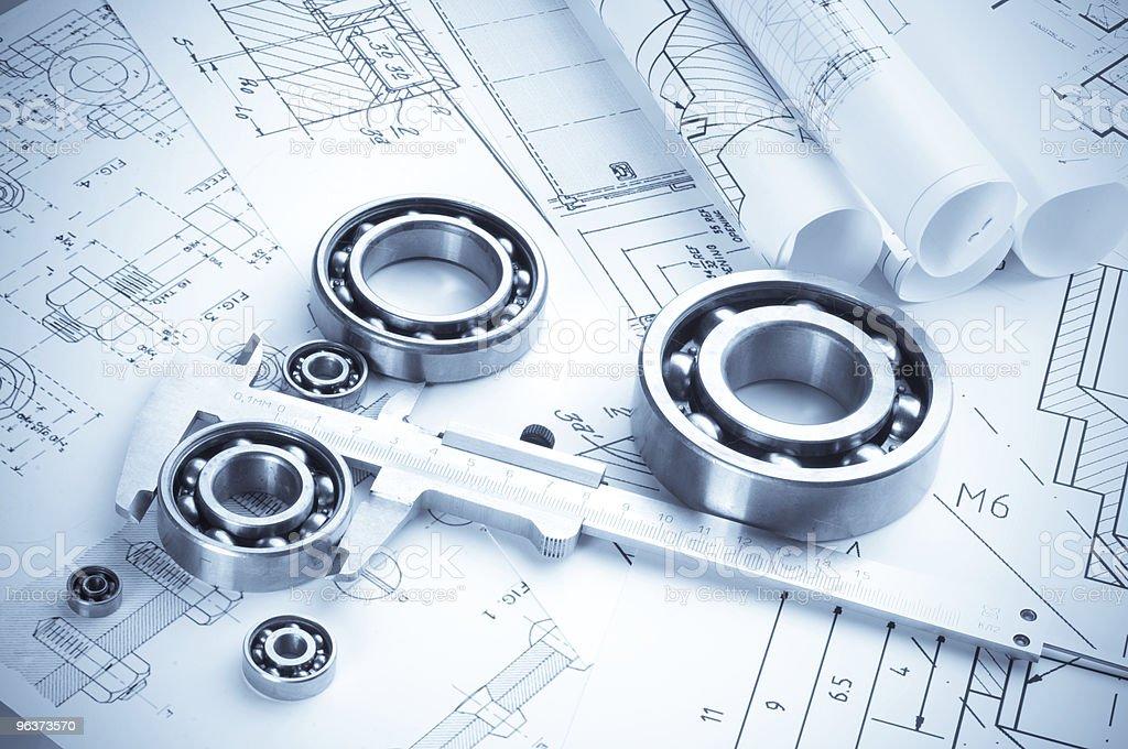 Shiny tools on blueprints royalty-free stock photo