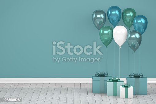 istock Shiny turquoise and white color balloons in empty room. Christmas, Valentine's day, Birthday concept. 1073585282