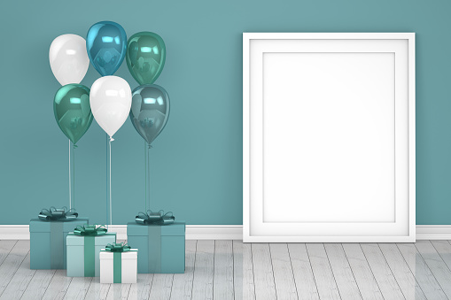 istock Shiny turquoise and white color balloons with empty frame in empty room. Christmas, Valentine's day, Birthday concept. 1073768016