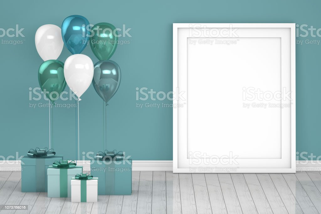 Shiny turquoise and white color balloons with empty frame in empty room. Christmas, Valentine's day, Birthday concept. stock photo