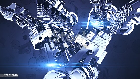 istock Shiny V8 Engine 3D Illustration Render 1176710999