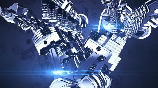 istock Shiny V8 Engine 3D Illustration Render 1176710999