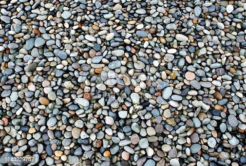 Shiny wet little stones on Pacific ocean shore.