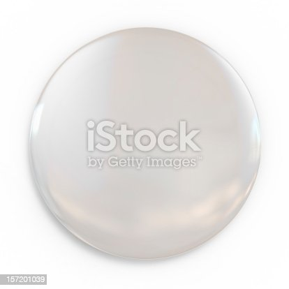 istock A shiny white blank badge on a white background 157201039