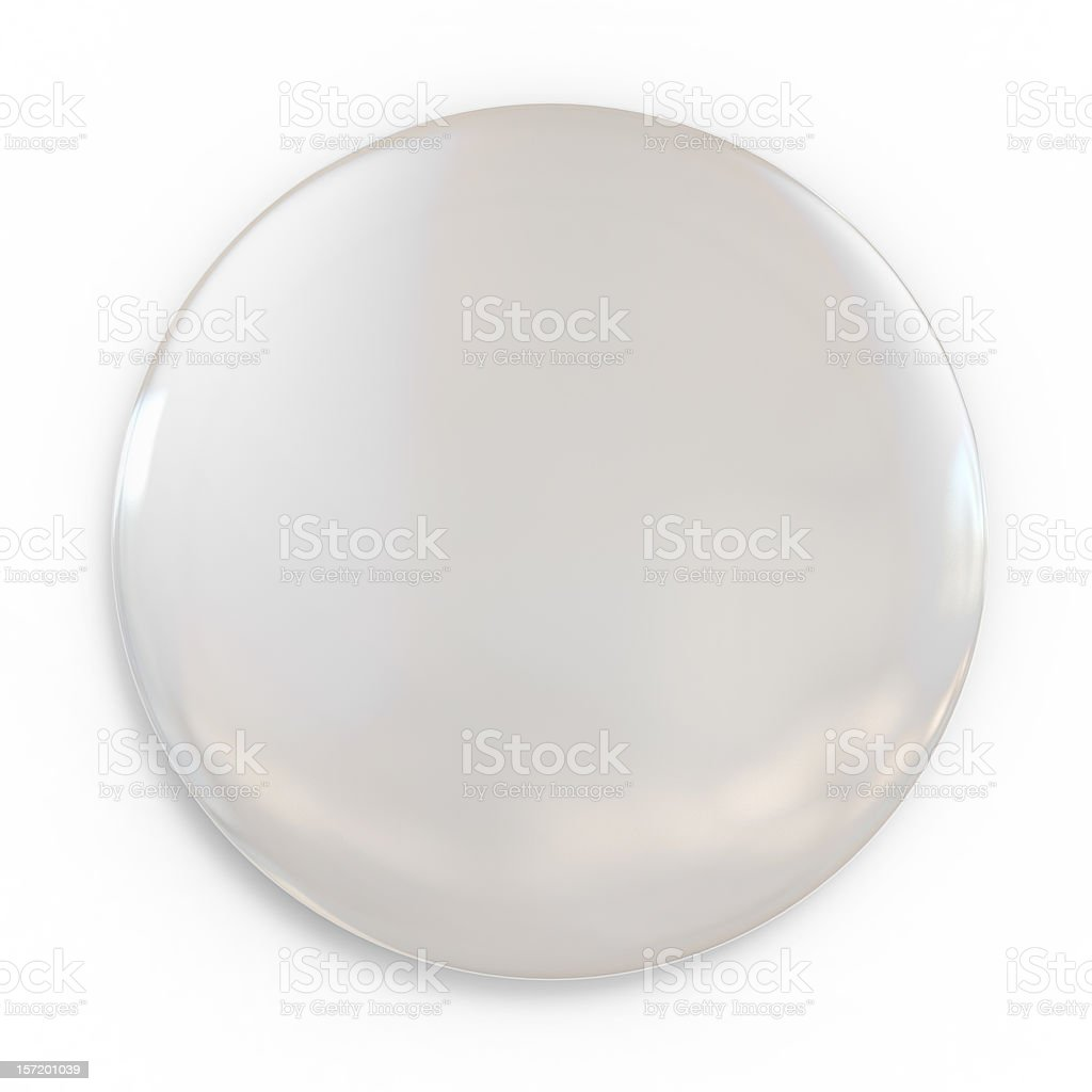 A shiny white blank badge on a white background stock photo