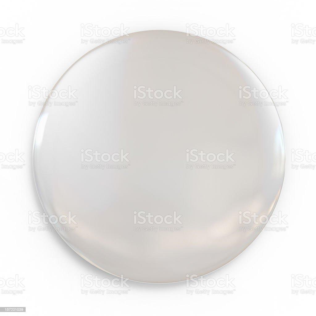 A shiny white blank badge on a white background stock photo