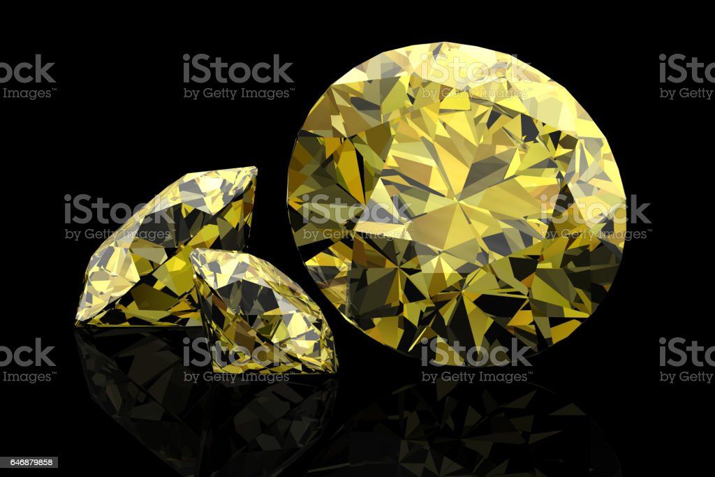 Shiny white yellow sapphire .3D rendering vector art illustration