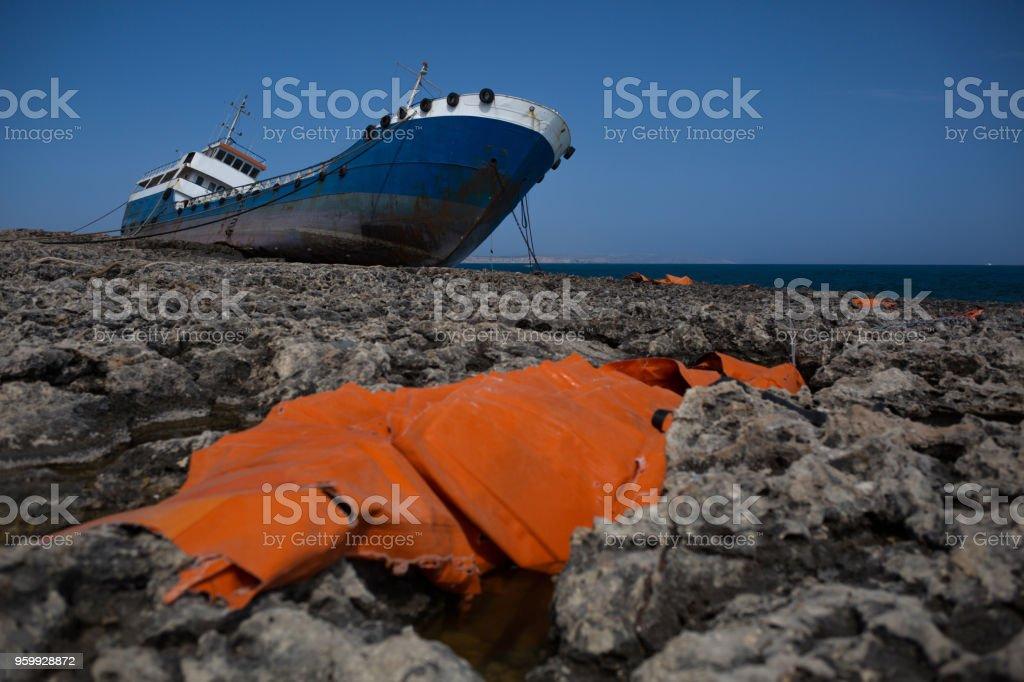 ship after shipwreck at Malta stock photo