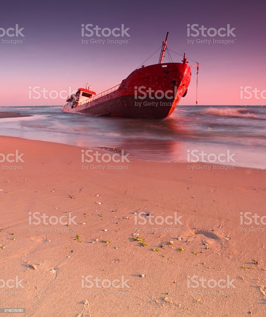 Ship after wreck on the coast stock photo