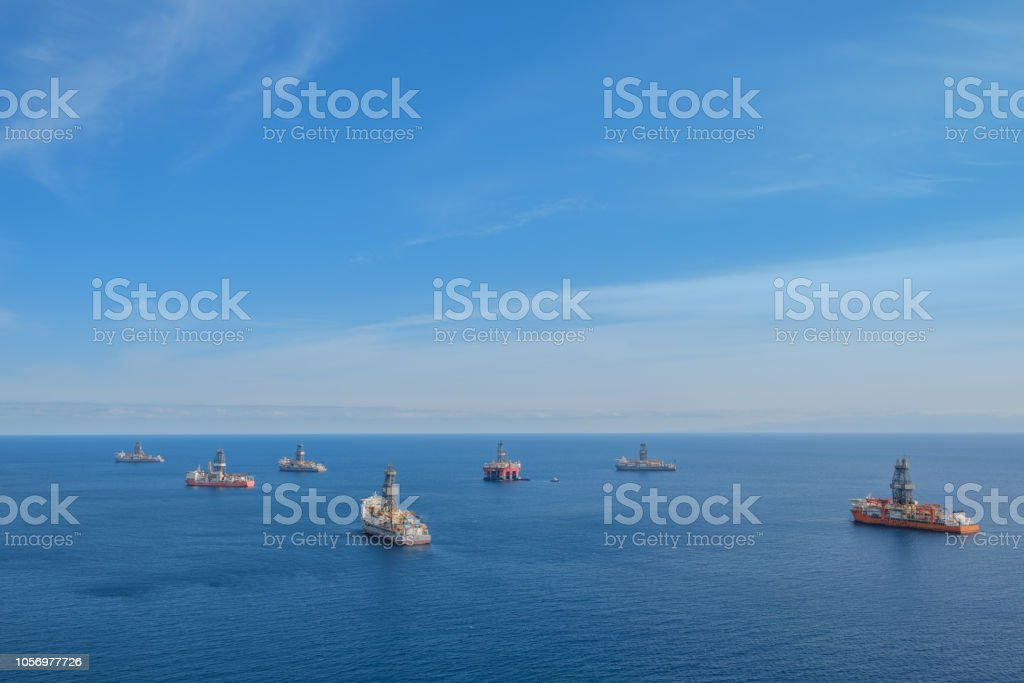 ship and drilling platform , offshore drill ships, ocean aerial -