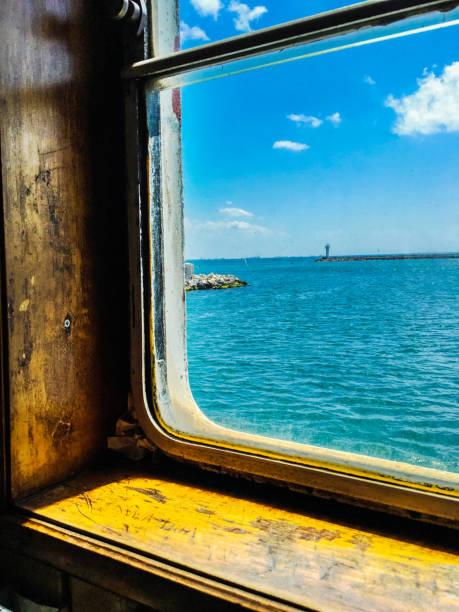 Gemi ve deniz arka plan stok fotoğrafı