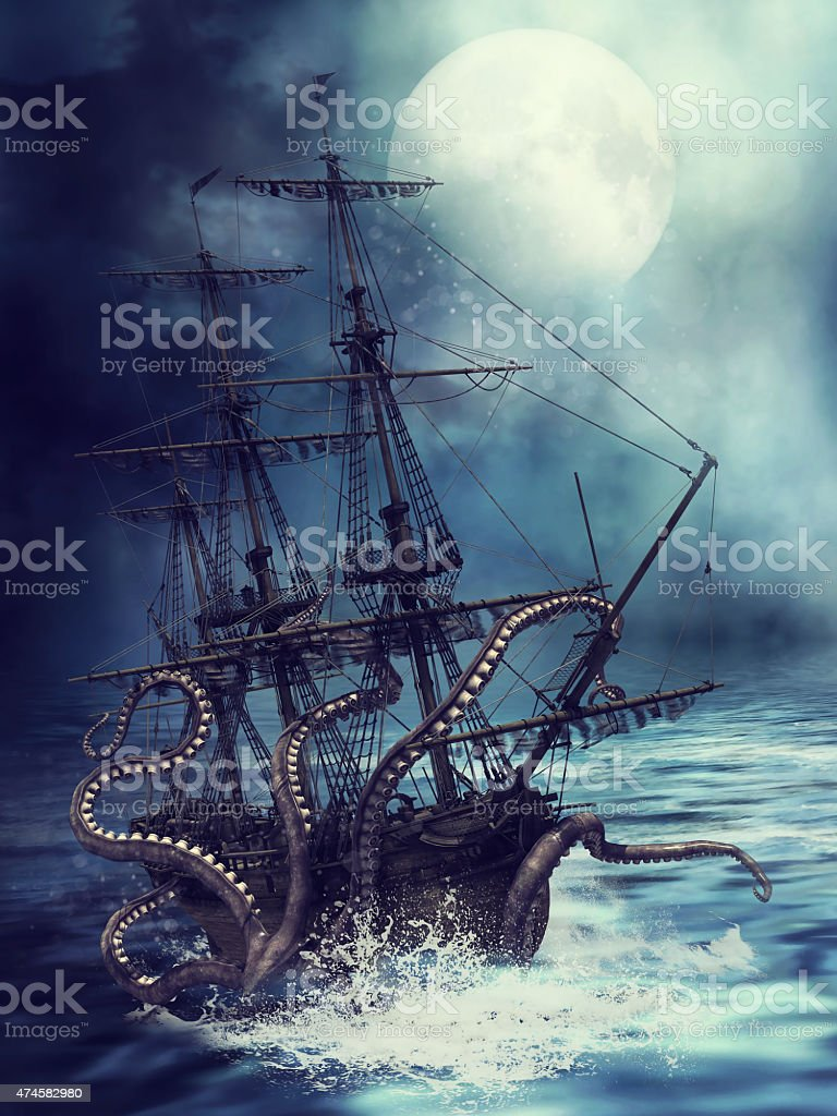 Ship and tentacles stock photo