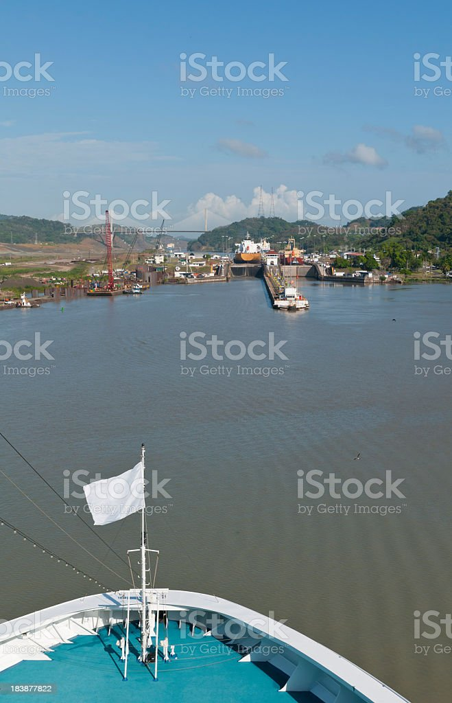 Ship Approaching Pedro Miguel Locks of the Panama Canal stock photo